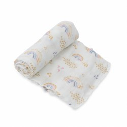 Deluxe Swaddle- Rainbows & Raindrops