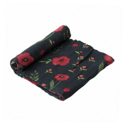 Muslin Swaddle- Dark Summer Poppy