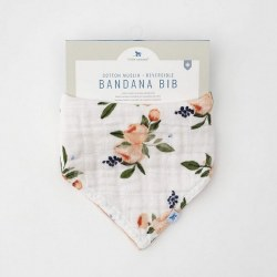 Reversible Bandana Bib Watercolor Roses