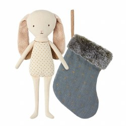 Bunny Angel with Blue Stocking