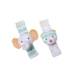 Playtime Elephant & Bear Wrist Rattle Set