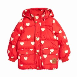 Hearts Puffer Jacket Red 8/9