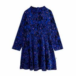 Leopard Velour Dress Blue 2/3Y