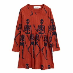 Skeleton LS Dress Red 4/5Y