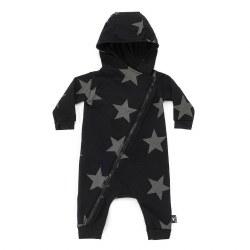 Star Zip Hood Overall Blk 0-6M
