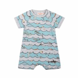 Animal Wave Raglan Romp NB