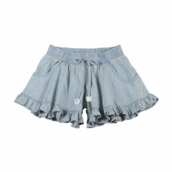 Chambray Frill Shorts 2