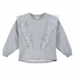 Mesh Frill Sweatshirt Grey 8