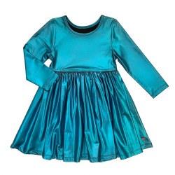 Liza Lame LS Dress Turq 10