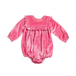 Quinn Bubble Pink Velour 3-6M