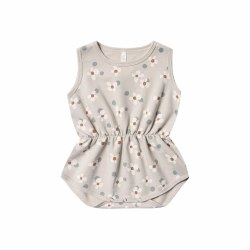 Dot Flower Playsuit Dove 0-3M