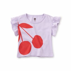 Cherry Flutter Baby Tee 3-6M