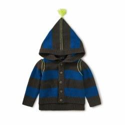 Hood Tassel Sweater Strp 3-6M