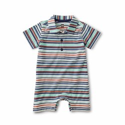 Polo Stripe Romper Birch 12-18