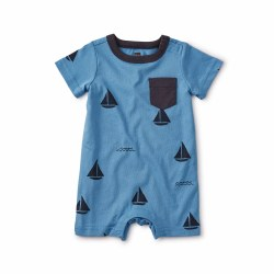 Sailboats Pocket Romper 0-3M