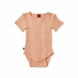 Rib Bodysuit Dusty Coral 0-3M