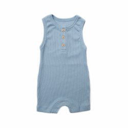 Rib Summer Romp Blue 3-6M