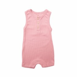 Rib Summer Romp Rose 3-6M