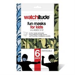 Kids Face Masks Shark Frenzy & Dino Camo