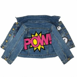 Pink POW Patch Denim Jacket 6