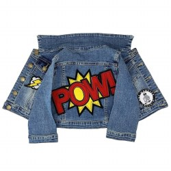 Red POW Patch Denim Jacket 6