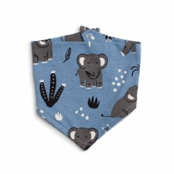 Kerchief Bib Elephants Blue