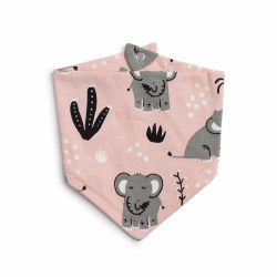 Kerchief Bib Elephants Pink