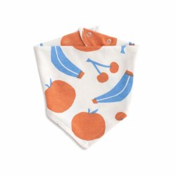 Kerchief Bib Yummy Fruit Blue/Orange