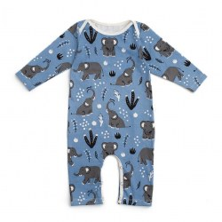 LS Romper Blue Elephants 0-3M