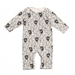 LS Romper Bears Black 0-3M