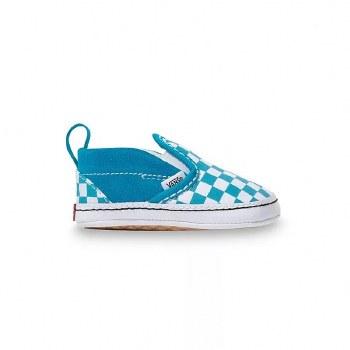 Slip-on V Crib Shoe Sea Chk 1