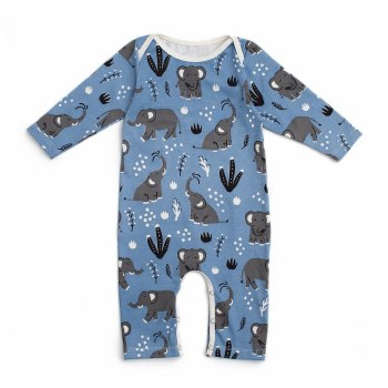 LS Romper Blue Elephants 6-12M