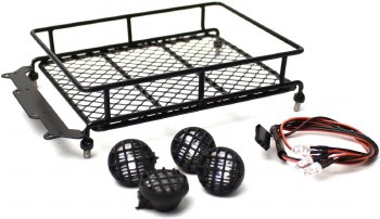 Racer's Edge 1/10 Scaler Metal Mesh Roof Rack with Roung LED Lights (Black)