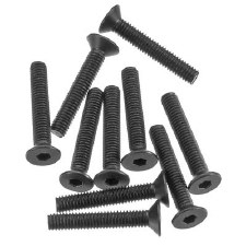 Axial Hex Socket Flat Head M3 x 18mm Screws (10) (Black)