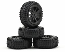 Tires, Mounted, Black: Micro R