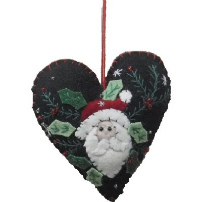 FELT HEART WITH SANTA HEAD
