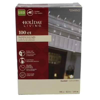 100 COUNT LED CLEAR ICICLE LIGHTS