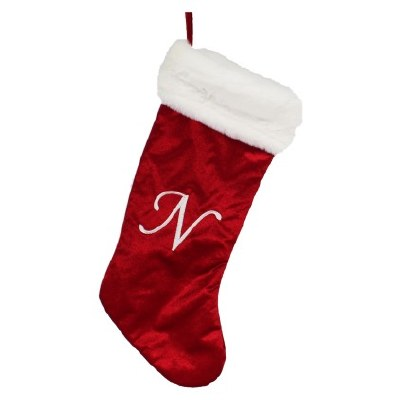 LETTER N MONOGRAM STOCKING