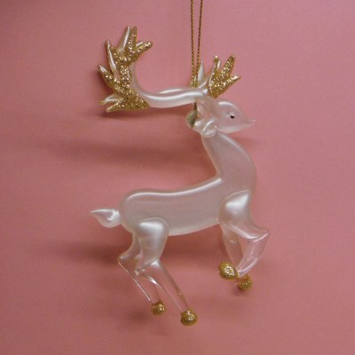REINDEER GLASS WITH GOLD SPARKLE