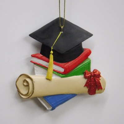 GRADUATION HAT, BOOKS AND SCROLL