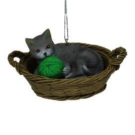 GREY CAT IN A BASKET