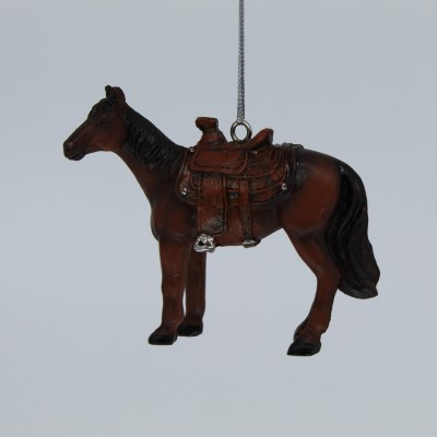BROWN SADDLED HORSE