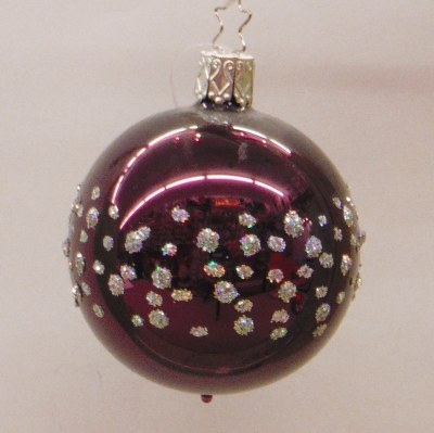 BERRY SHINY DOTTED BALL 6CM INGE GLAS