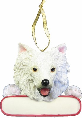 AMERICAN ESKIMO DOG WITH NAME PLATE