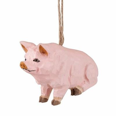 CARVED WOODEN PIG