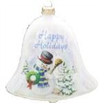 SNOWMAN BELL GLASS ORNAMENT