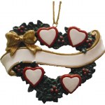 FAMILY OF 4 HEARTS IN A WREATH