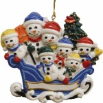 FAMILY OF 7 SNOWMEN IN SLEIGH