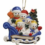 FAMILY OF 5 SNOWMAN IN A SLEIGH