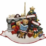 FAMILY F 2 BEARS BY FIREPLACE